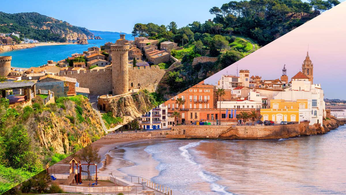 Collage de 2 imágenes. En la parte superior se ve Tossa de Mar y en la parte inferior Sitges. Ambas son imágenes de playas