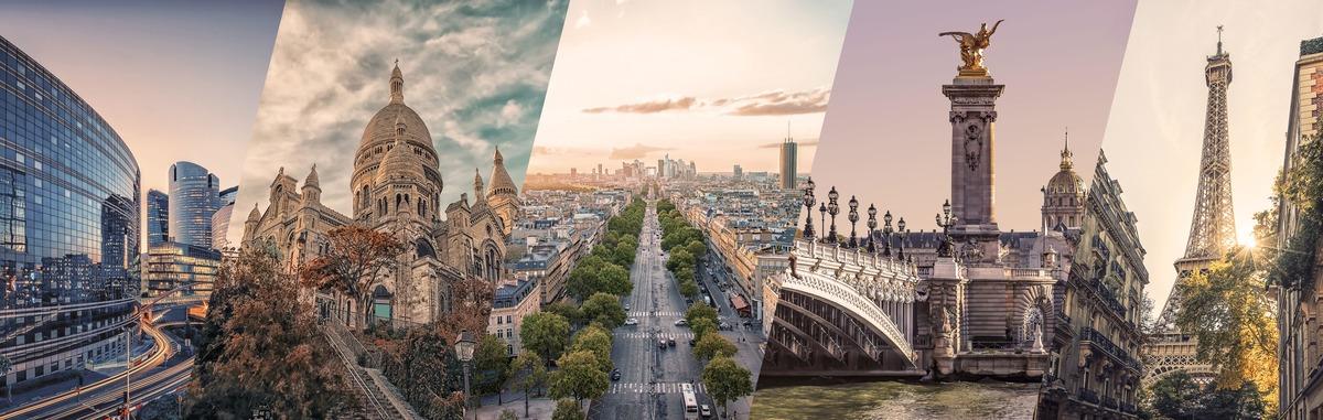 Collage de diferentes países famosos de Europa. Se pueden ver países como Italia o Francia