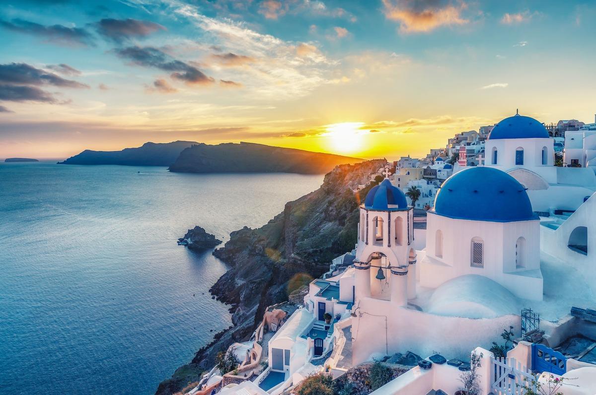 Vista panorámica de Santorini - Grecia